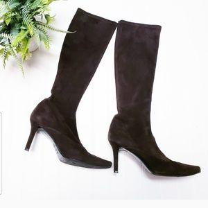 🎉Stuart Weitzman Brown Suede Tall Sock Boots🎉